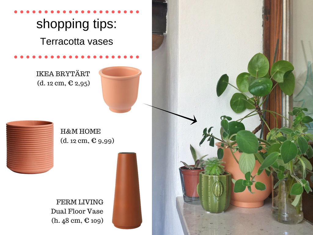 My colour selection terracotta shopping list vases